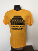 Channel One T-Shirt Speaker Stack - Gildan Cotton Gold/Black Speaker Stack (Various sizes)